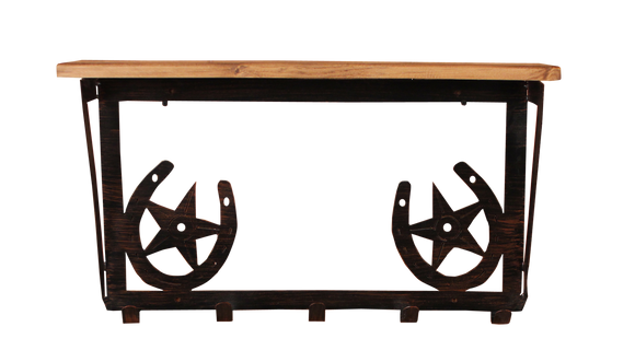 Iron Horse Shoe and Star Coat Rack with 6