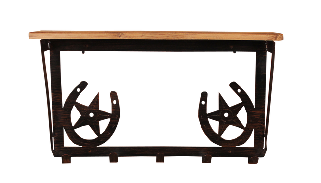 "Iron Horse Shoe and Star Coat Rack with 6"" Shelf"
