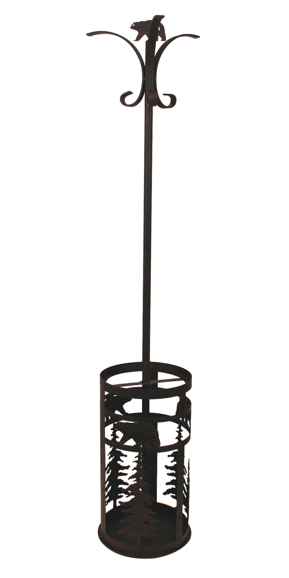 Iron 2 piece Coat Rack and Umbrella Stand-Bear and  Feather Tree Accent - Coast Lamp Shop