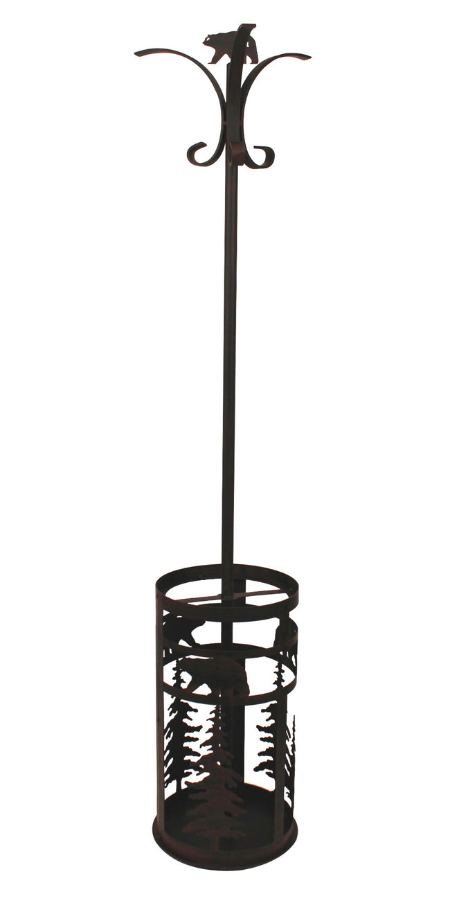 Iron 2 piece Coat Rack and Umbrella Stand-Bear and  Feather Tree Accent