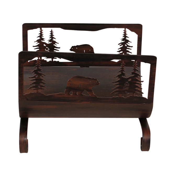 Bear Scene Wood Holder - Coast Lamp Shop