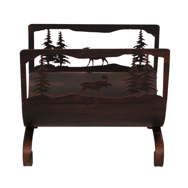 Moose Scene Wood Holder