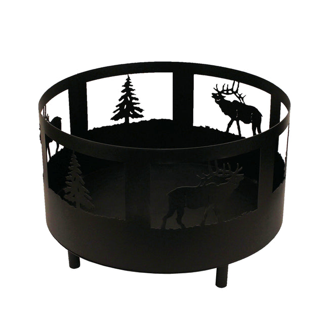 Elk and Tree Scene Fire Pit with Base and Feet - Coast Lamp Shop
