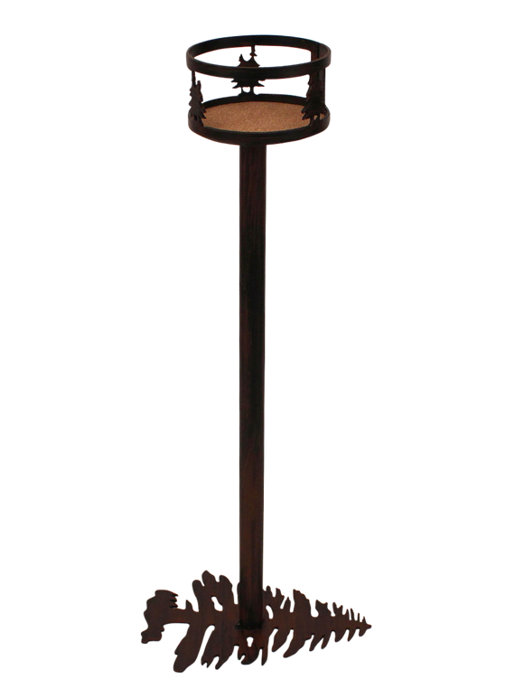 Iron Double Tree Band Drink Holder with Pine Tree Base - Coast Lamp Shop