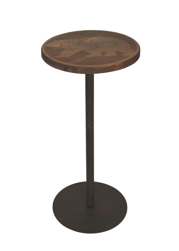 Round Wood Top Drink Table w/Walking Bear Accent - Coast Lamp Shop