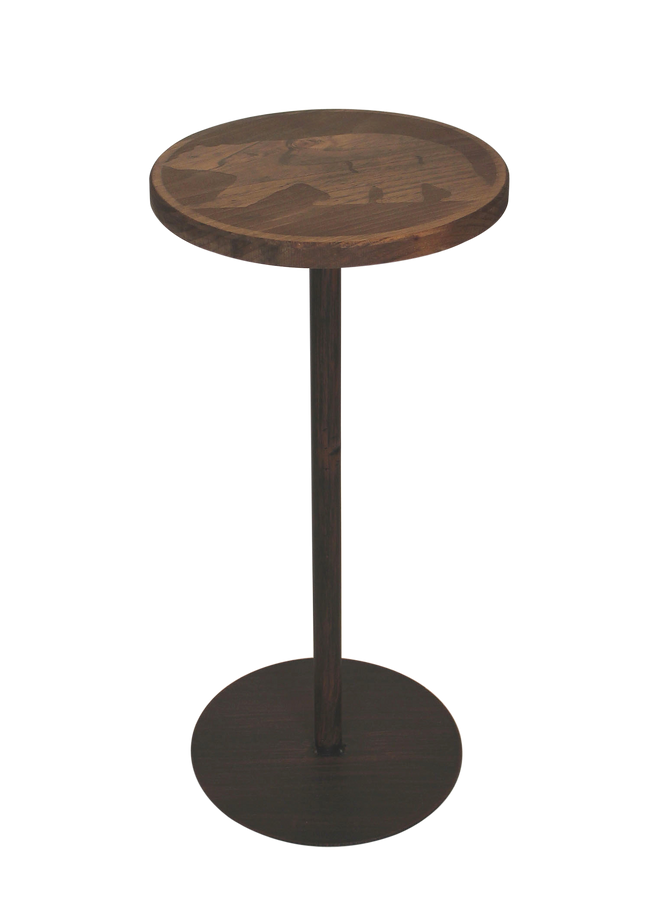 Round Wood Top Drink Table w/Walking Bear Accent