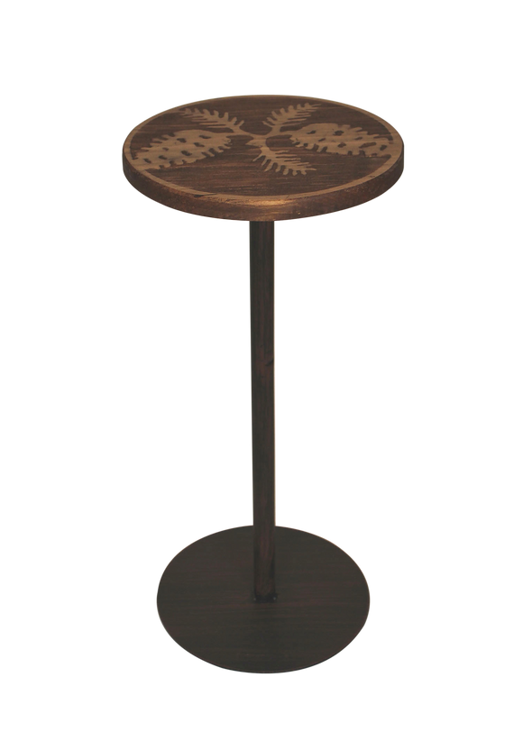 Round Wood Top Drink Table w/Pine Cone Accent - Coast Lamp Shop