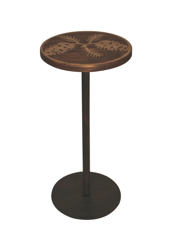Round Wood Top Drink Table w/Pine Cone Accent