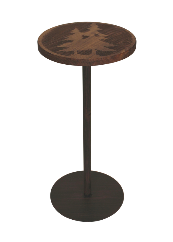 Round Wood Top Drink Table w/Double Pine Tree Accent - Coast Lamp Shop