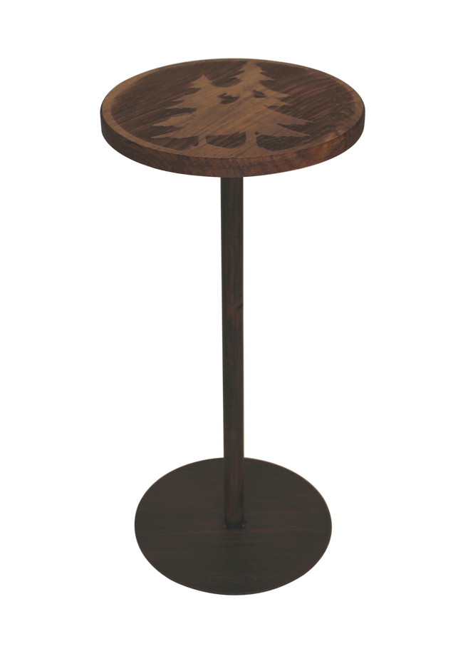Round Wood Top Drink Table w/Double Pine Tree Accent