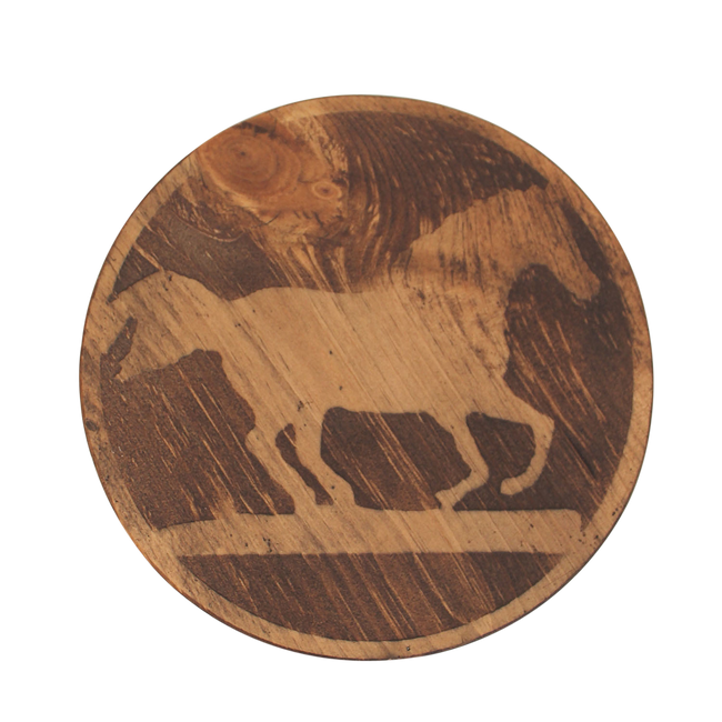 Round Wood Top Drink Table w/Running Horse Accent