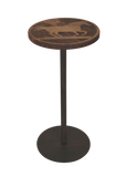 Round Wood Top Drink Table w/Running Horse Accent - Coast Lamp Shop
