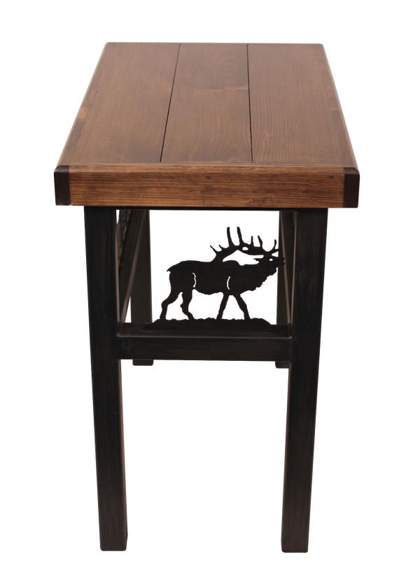 Rectangular End Table with Elk/Feather Tree Accent - Coast Lamp Shop