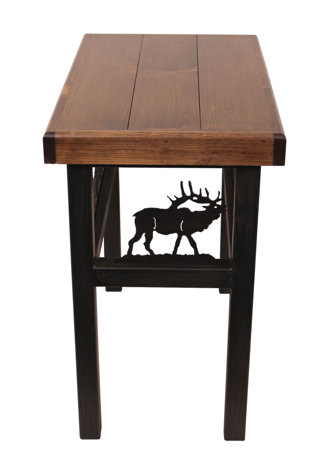 Rectangular End Table with Elk/Feather Tree Accent