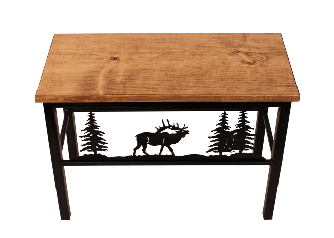 "24"" Iron Elk Scene Bench - Coast Lamp Shop"