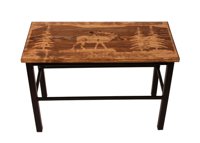 "24"" Wooden Elk Scene Bench - Coast Lamp Shop"