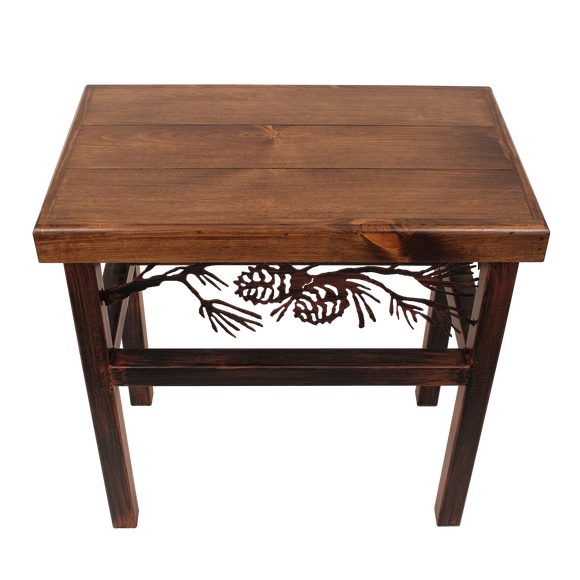 Rectangle End Table with Pine Cone Accent - Coast Lamp Shop