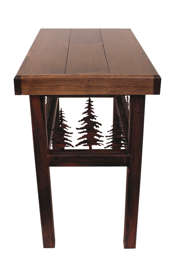 Rectangle End Table with Feather Tree  Accent - Coast Lamp Shop