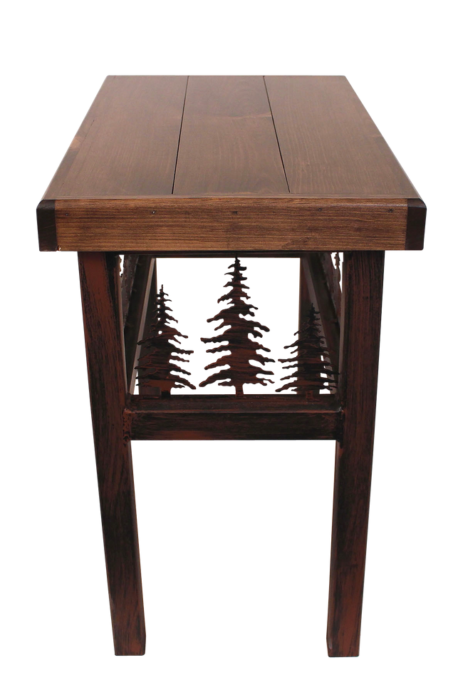 Rectangle End Table with Feather Tree  Accent