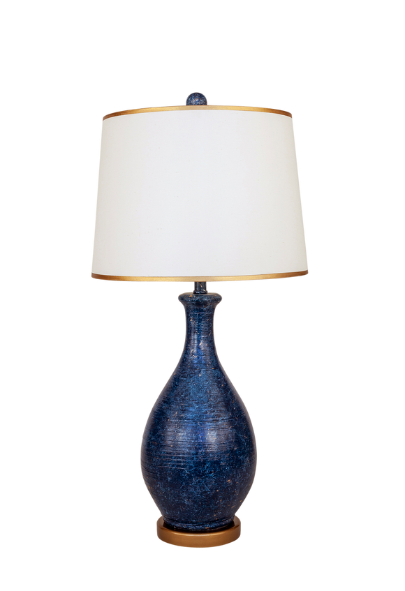 Two Tone Navy Ridged Tear Drop Table Lamp with Gold Base