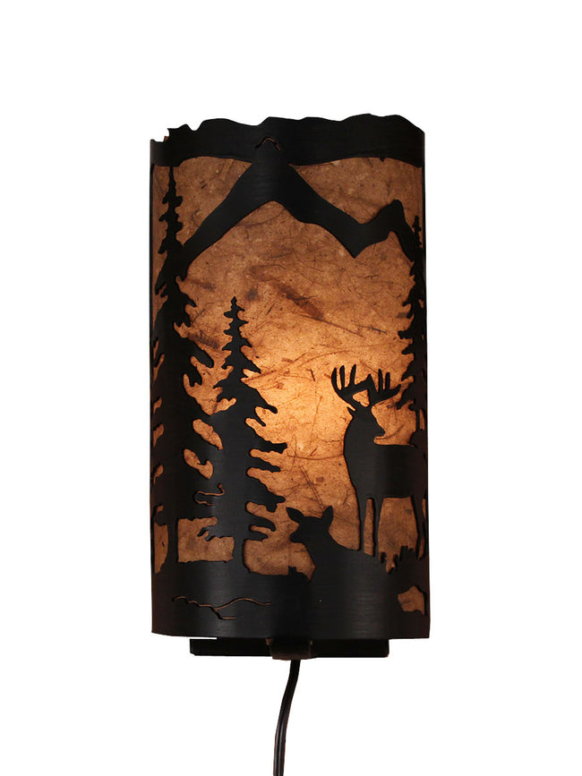 Deer Scene Panel Sconce - Coast Lamp Shop