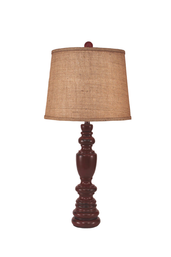 Distressed Red Multi Ring Candle Stick Table Lamp - Coast Lamp Shop