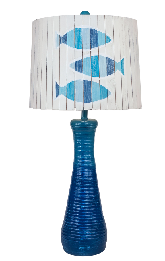 Seabreeze Ribbed Hour Glass Table Lamp with 3 Fish Panel Shade