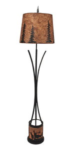 Flat Bar Floor Lamp with Elk Scene Night Light - Coast Lamp Shop