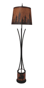 Flat Bar Floor Lamp with Moose Scene Night Light - Coast Lamp Shop