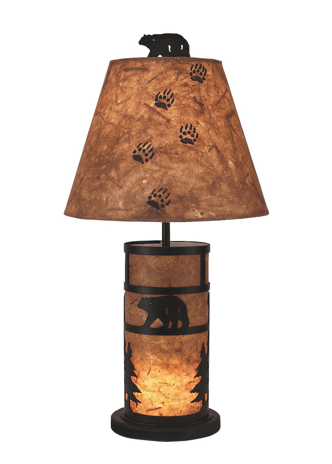 Bear and Tree Mission Style Accent Lamp w/ Night Light - Coast Lamp Shop