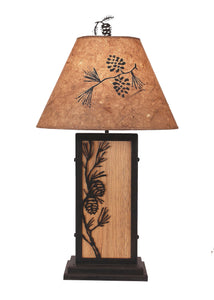 Pine Branch Iron/Wood Table Lamp - Coast Lamp Shop