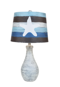 Shabby Cottage Eggplant Clay Jug Table Lamp with Striped Starfish Shade