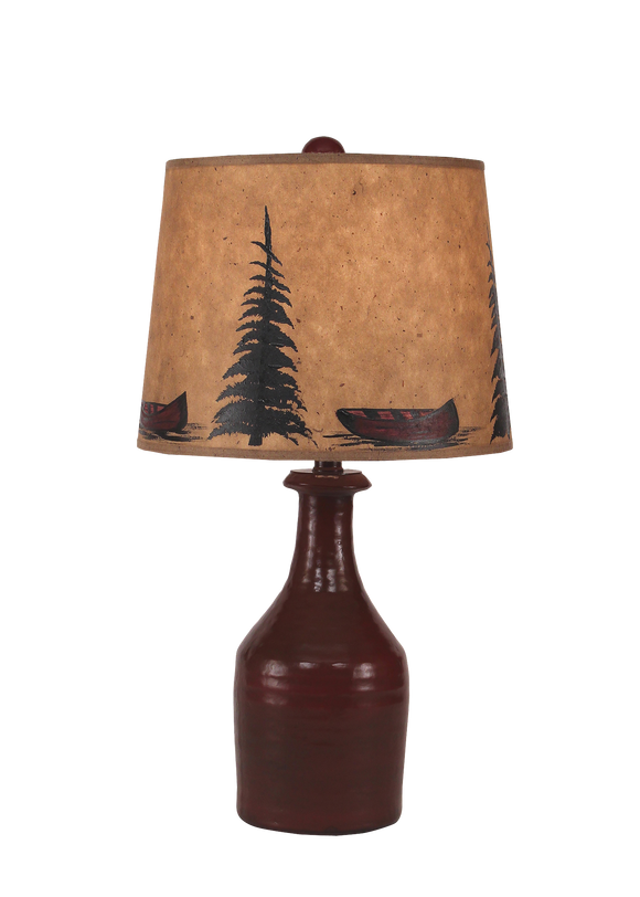 Small Clay Jug Accent Lamp w/ Tree and Canoe Shade - Coast Lamp Shop