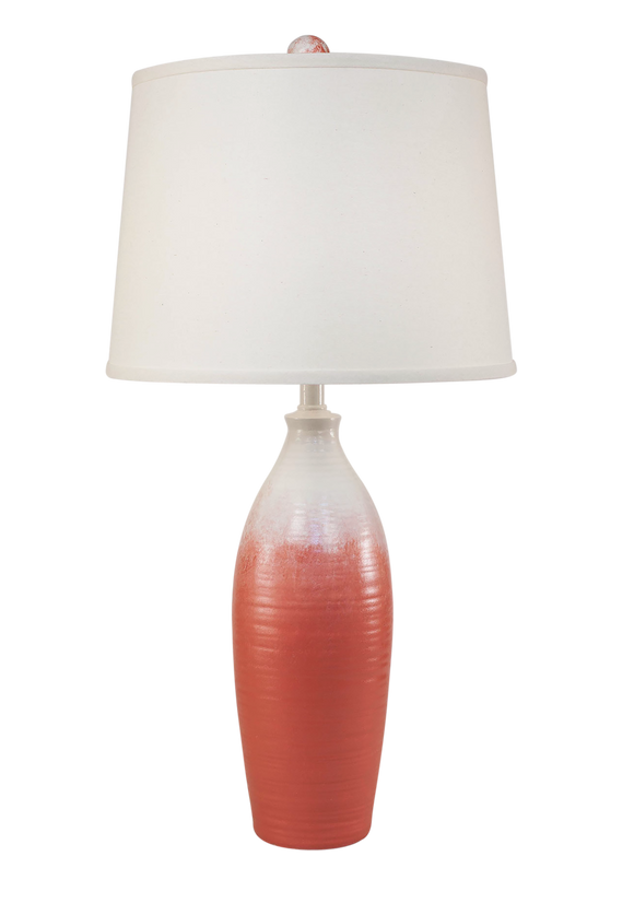 Coral Fade Tapered Ribbed Vase Table Lamp