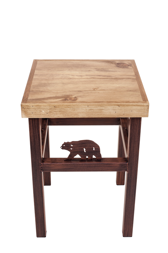 Burnt Sienna Iron End Table with Wood Top and Bear Accent