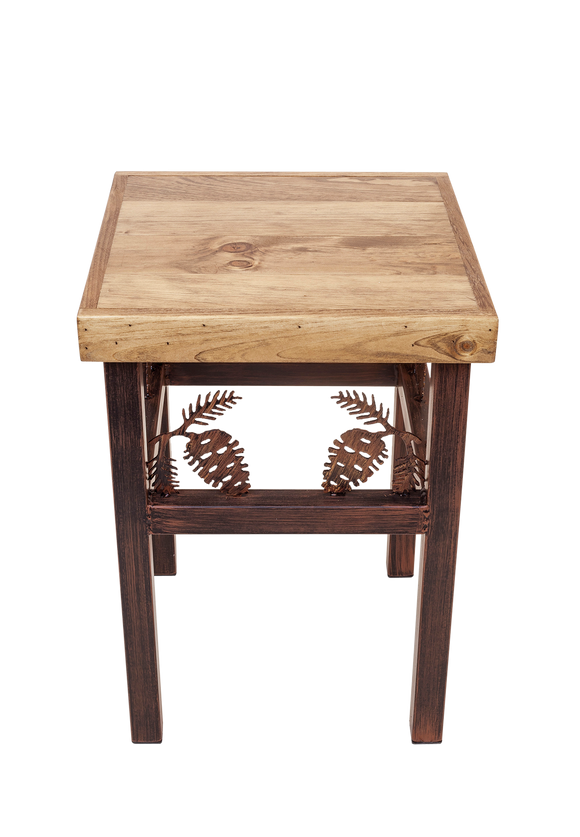 Charred End Iron End Table with Wood Top and Pinecone Accent