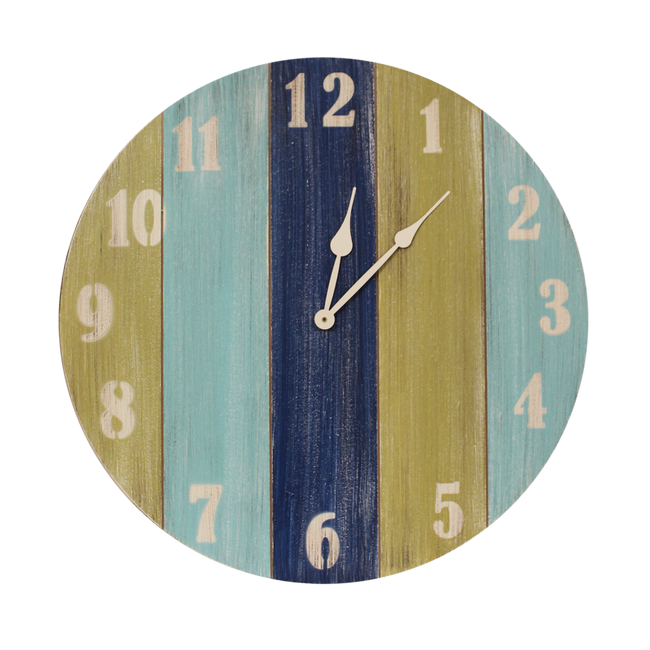 "Cottage/Bright Stripe Accent 24"" Round Clock - Coast Lamp Shop"