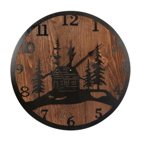 "24"" Round Wooden Clock with Etched Cabin and Tree Accent - Coast Lamp Shop"