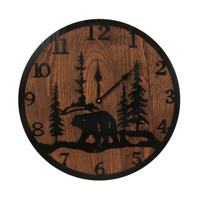 "24"" Round Wooden Clock with Etched Bear and Tree Accent - Coast Lamp Shop"