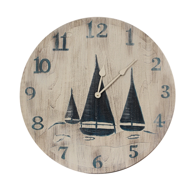"Cottage/Navy 24"" Round Clock with Etched Sailboat Scene - Coast Lamp Shop"