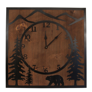 "STAIN/BLACK 30"" SQUARE WOODEN CLOCK WITH ETCHED BEAR SCENE"
