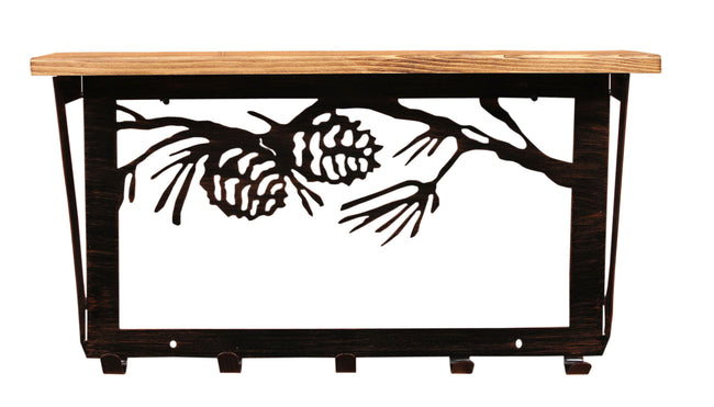 6x24 Pine Branch Scene Coat Rack w/ Shelf- Burnt Sienna - Coast Lamp Shop