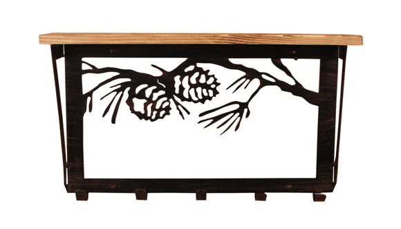 6x24 Pine Branch Scene Coat Rack w/ Shelf- Kodiak - Coast Lamp Shop