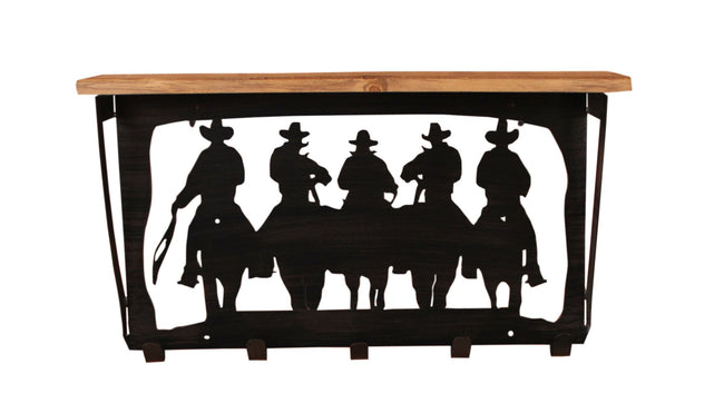 11x24 Cowboys Scene Coat Rack w/ Shelf - Coast Lamp Shop