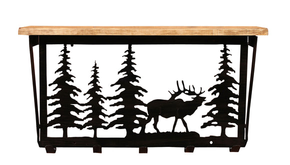 6x24 Elk Scene Coat Rack w/ Shelf - Coast Lamp Shop