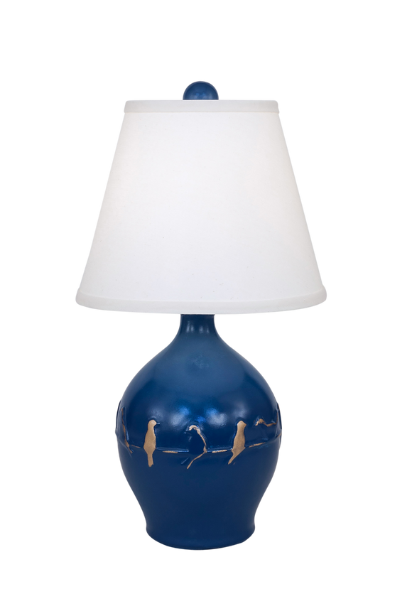 Denim/Gold Birds on a Branch Accent Lamp