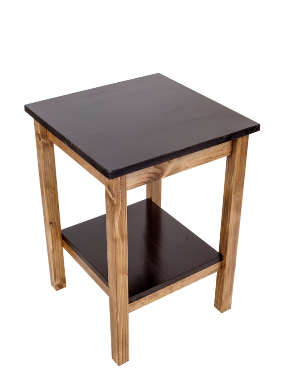 Stain/Black All Wood End Table with Slat top/Shelf