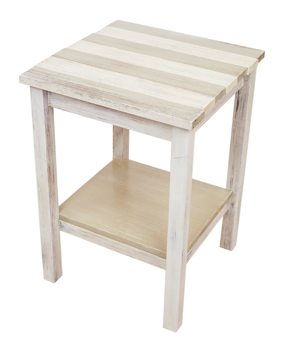 Cottage/Sisal Stripe All Wood End Table with Uneven Top and Shelf