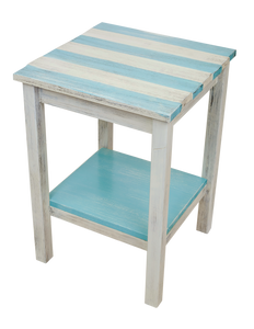 "Cottage/Turquoise Sea Stripe All Wood 17"" End Table with Uneven Top and Shelf"