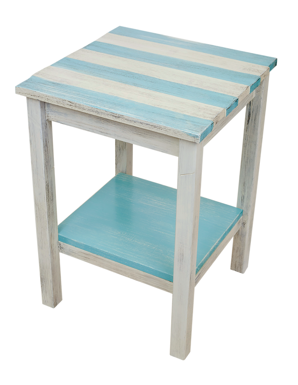 Cottage/Turquoise Sea Stripe All Wood 17
